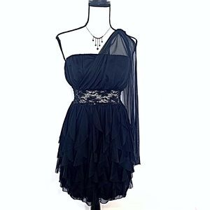 Roberta Bridal Black Ruffled Cocktail Dress